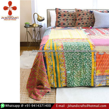 Reversible King Size Vintage Kantha Bed-cover