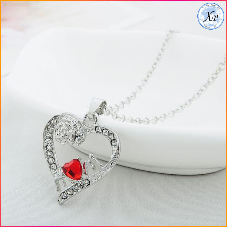 High quality Fashion Silver Plated Heart Love MOM Pendant Crystal Necklace