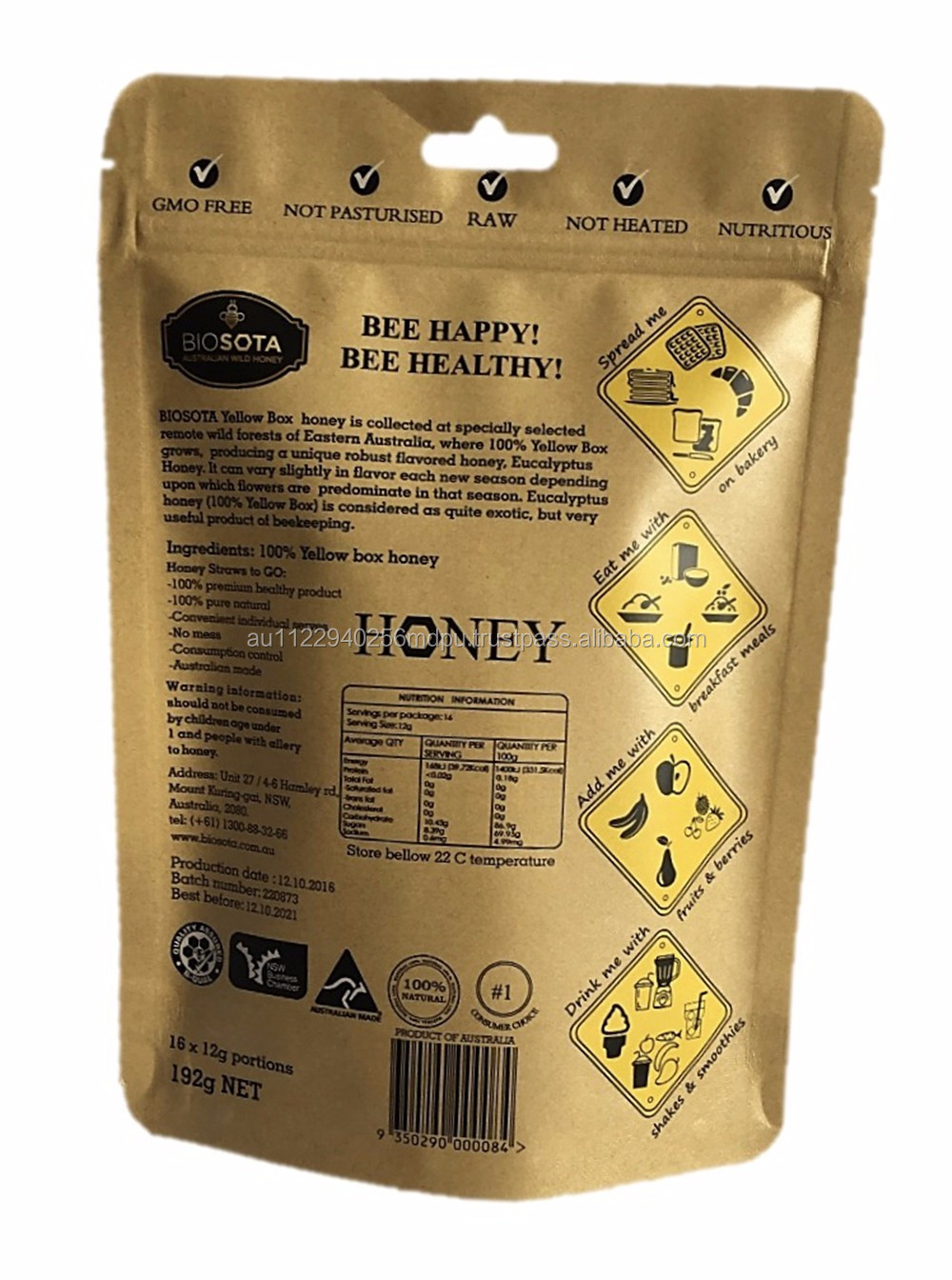 Australia supplier 100 pure stingless bees pure natural honey for export
