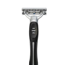 Triple Blade Razor with Lubricated Strip and Rubber Handle