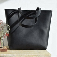 Travel leather bag, Oversized Black Leather tote bag, Handmade Bag AV-0015