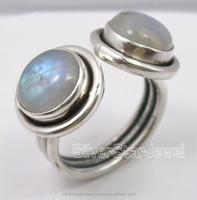 925 Solid Silver RAINBOW MOONSTONE 2 JEWEL URBAN STYLE ADJUSTABLE Rings Any Size