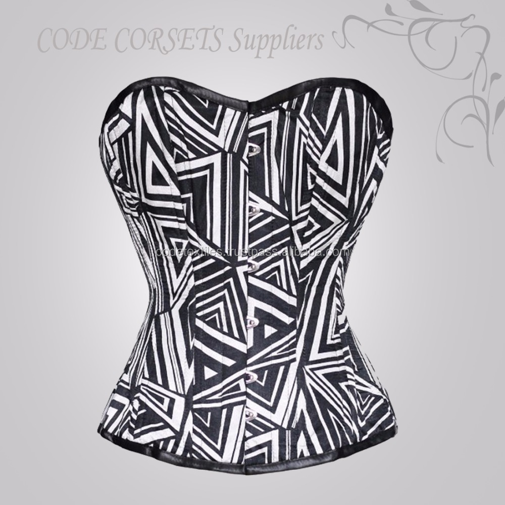 White & Black Digital Sublimation Underbust Steel boned Corset Sizes Available XXXS To 8XL