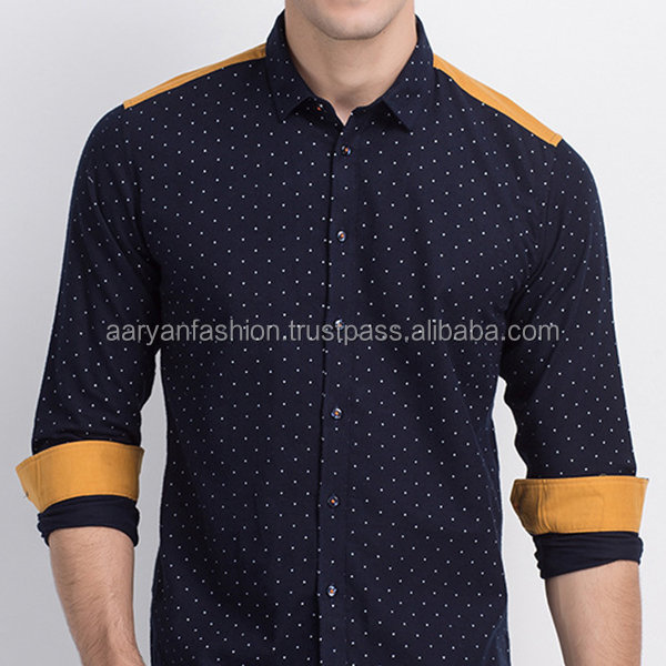 Cotton Long Sleeve Printing Patchwork Button Up Shirt for Men