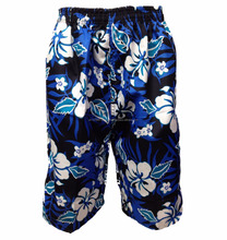 "Navy & White MENS FLORAL FLOWER PRINT CARGO BEACH SUMMER BOARD SURF SHORTS - WAIST 32"" TO 40"" - UK Stock Fast Shipping"