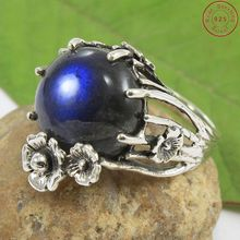 Ball with floral design 925 sterling silver labradorite gemstone ring wholesale silver jewelry exporter supplier