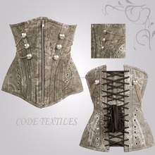 New Brown Military Steampunk Waist Training Corset For Women Bustier