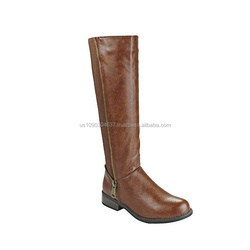 Women Elastic Quilted Buckle Zipper Decor Strap Mid-Calf Motorcycle Riding Boots