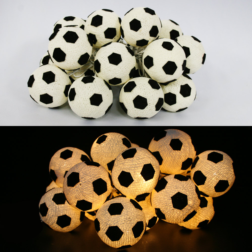 Cotton Balls String Lights Fairy Lamp Handmade For Home Christmas Soccer Decor Lighting Lamp Handmade