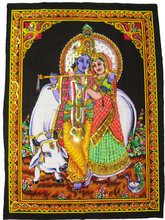 Indian Radha Krishana multicolored tapestry cotton sequin wall hanging home decor