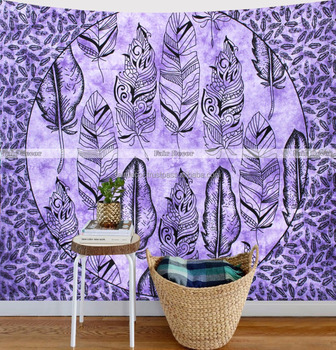 Queen Purple Tie Dye Feather Mandala Wall Hanging Decor Art Tapestry