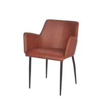 Antique Leather Seat Living Room Chair With Metal Legs New Design