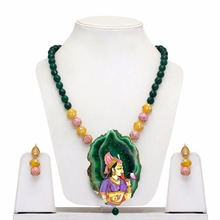 Rajasthani Painting Of Bani Thani Multi Color Druzy Stone Traditional Necklace With Earrings