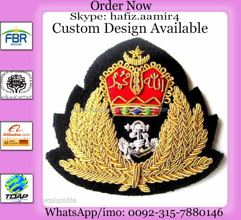 MALAYSIA HAT CAP badges BULLION WIRE BADGES GOLD WORK