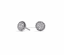 Timepieces Eyewear Jewelry, Rhodium Plated CZ Studded Twisted Stud Earring