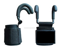 Weight Lifting Hooks with Non Slip Coating and Thick Neoprene Padded Wrist Wraps Designed for Grip Assist During