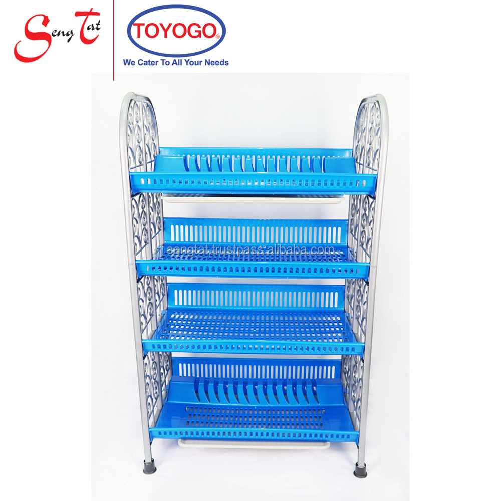 4 Tier Easy Assembling Termite Free and Waterproof Storage Organization Hazer Rack with tray the bottom (998-4)