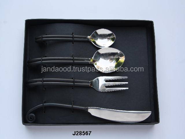 Steel cutlery set mirror polished with bone handle in horn shape