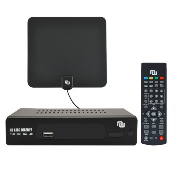 HD Antenna ATSC TV Converter Box 1080p w/ 50 miles Flat HD Indoor OTA Antenna,