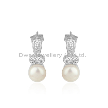 925 Sterling Silver White Rhodium Plated Earrings White Zircon & Pearl Gemstone Earring Jewelry Manufacturer