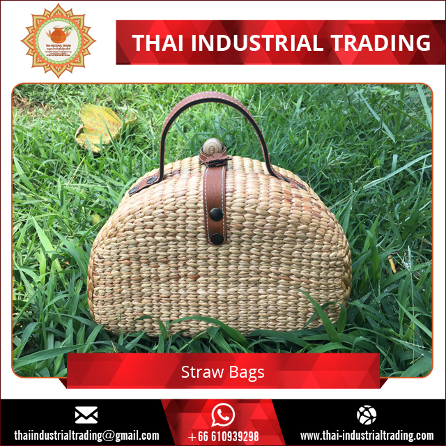 Eco-Friendly Unisex 100% Handmade Straw Handbag with Leather Strap Thailand origin products