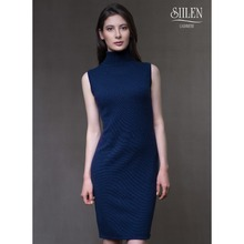 Sleeveless Turtle Neck Dress 100% Mongolian Cashmere