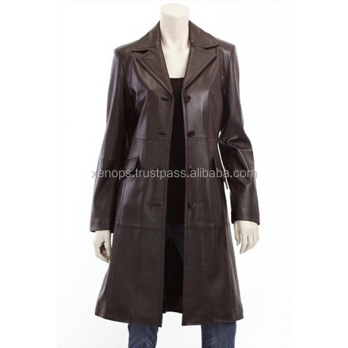 women real leather long blazer cow vegetable dyed natural aniline leather quality ladies fashion black long coat