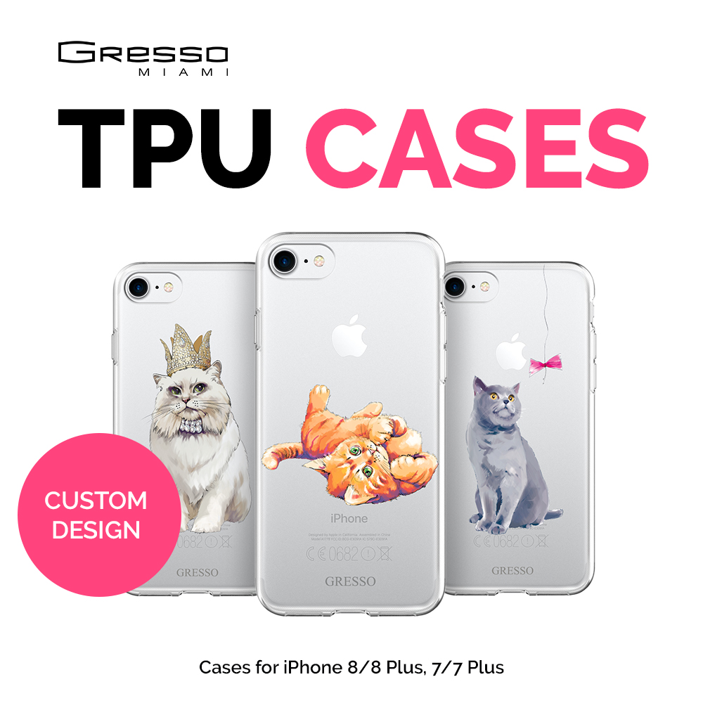 2017 Fashion Transparent TPU Wallet Case for iPhone 8 7 6s 6 Plus with Cats Design Printing Wholesale OEM