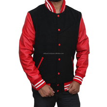 2017 Latest Outdoor Winter Unisex Wool Red and Black Varsity Jacket Fashion Mens Wool Varsity Jacket Men He-Winman-2033