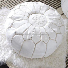 White Moroccan Pouf Ottoman- Nursery Footstool- Moroccan Leather Pouf- Baby Room Round Ottoman- Bohemian Home Decor