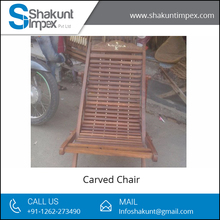 Long Lasting Quallity Carved Relaxing Wooden Chair for Sale