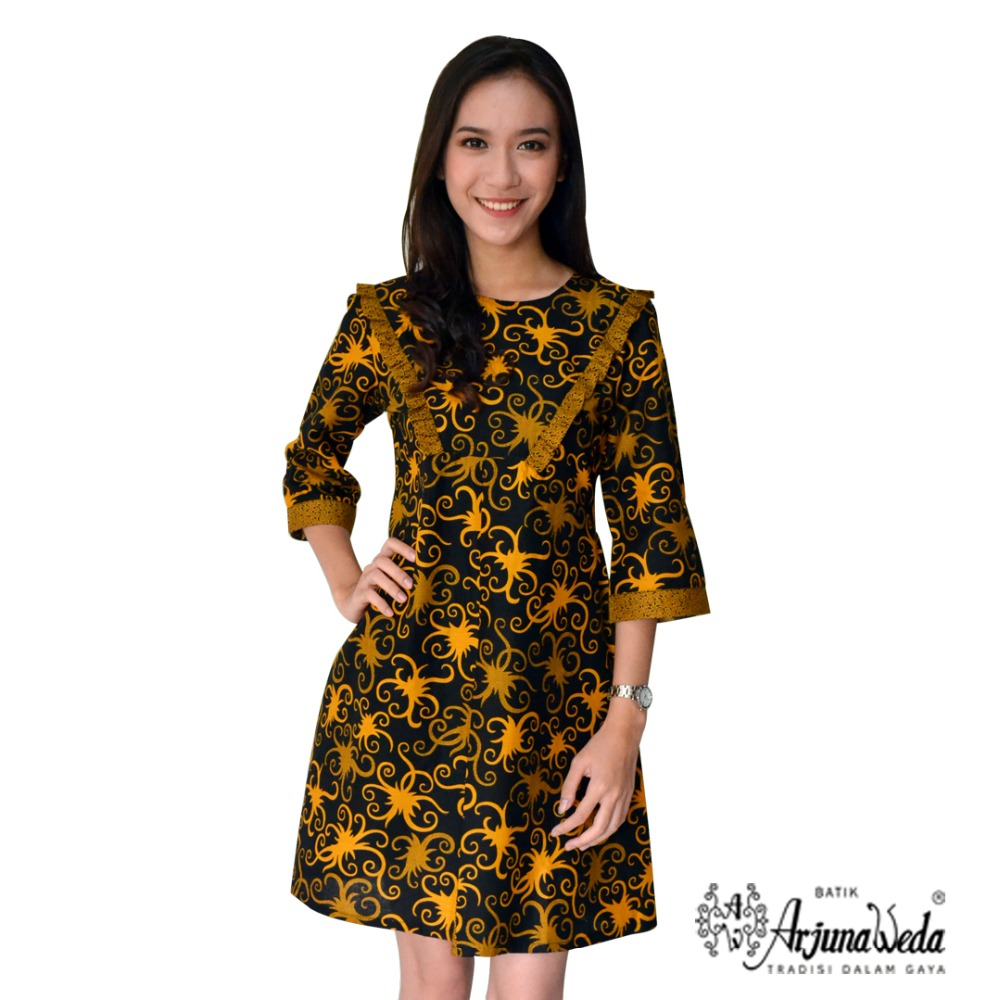 Indonesia Cumikan Warna Batik Pattern Woman Fancy Cassual Dress