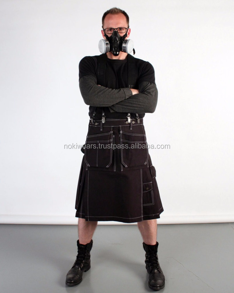 latest style black Active Men Black Utility Sports Casual Pocket Kilt / scottish kilt / At Noki