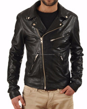 Custom Brand New Men's Genuine Lambskin Motorcycle Leather Slim fit Biker Jacket