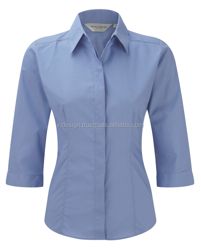 LADIES' 3/4 SLEEVE EASY CARE FITTED POPLIN SHIRT