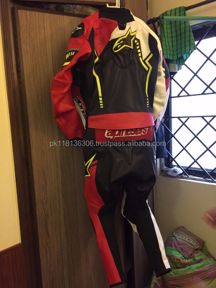 One-Piece Motorcycle Leather Race Suit With HUMP Black