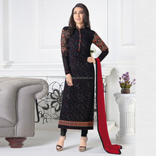 Traditional Dress from India BLACK Colour Embroidery Unstitched Salwar kameez