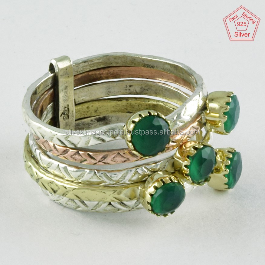 Beautiful Green Onyx Gemstone Triple Tone Handmade 925 Sterling Silver Stackable Ring Wholesaler India