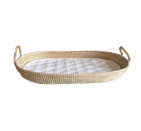 Natural seagrass baby changing basket with rope handle