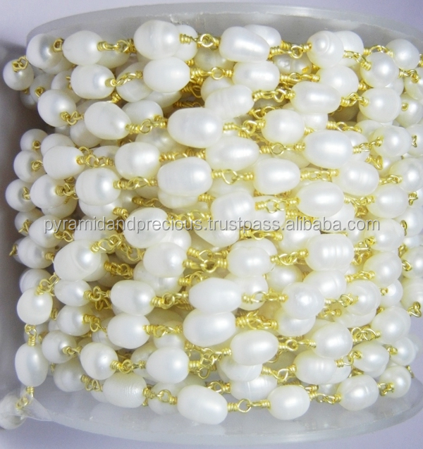 Gold Plated Natural White Pearl Gemstone Beaded Chain - Oval Shape Pearl Bead Chain