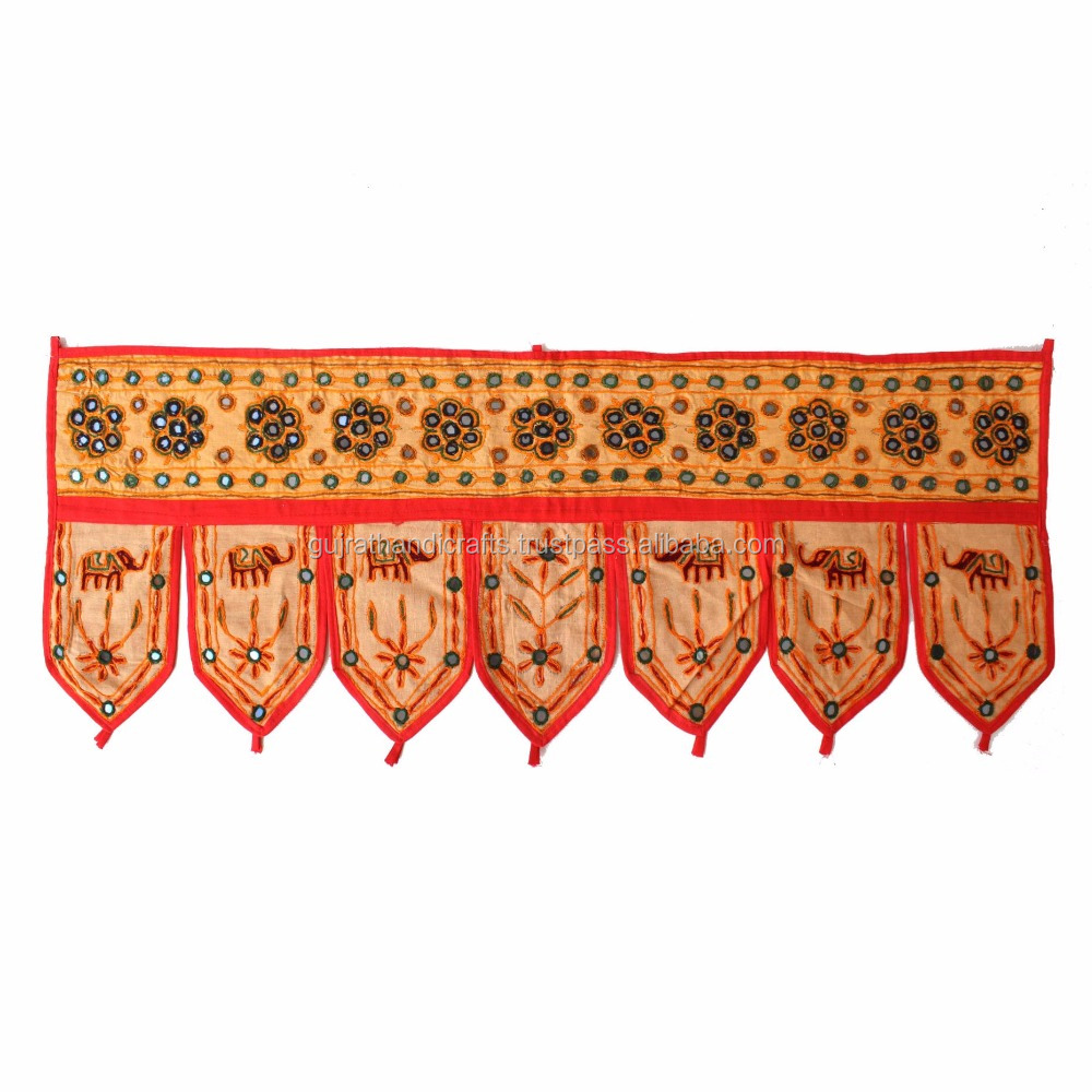 latest Indian Handmade Embroidered Mirror Work Door Hanging Cotton Toran Elephant Door Hangings