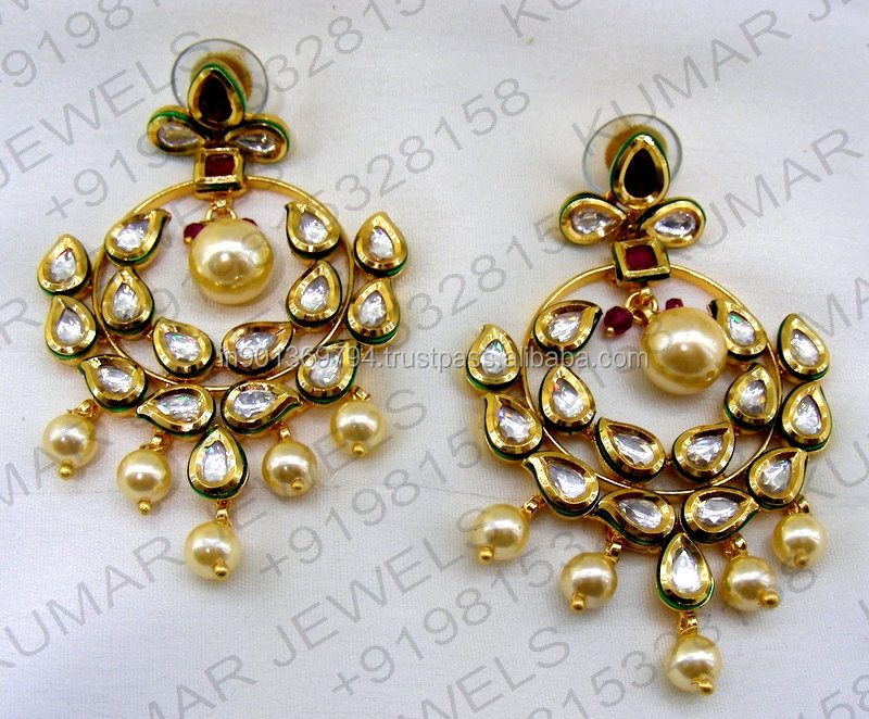 Big Round Fine Kundan Stone Pearl Beaded 22kt Gold Plated Wedding Party Wear Ruby Earrings