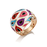 14377 Fine fashion muti-color jewelry 18k gold color beautiful fimger ring for women