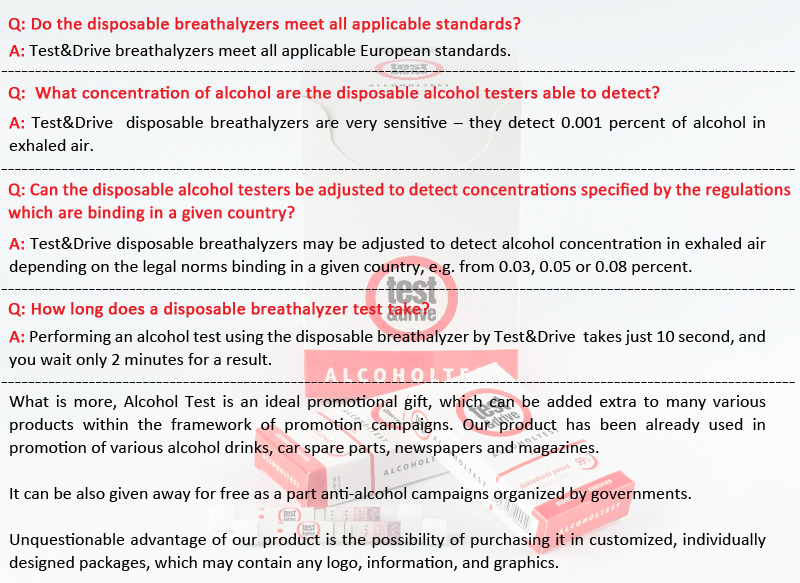 Disposable Breathalyzer, Alcohol Tester, Alcoholtest, Ethylotest at Low Price