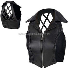 Ladies Black Genuine Leather Cross Hatch Vest Small Womens Motorcycle/ Bet quality by taidoc intl