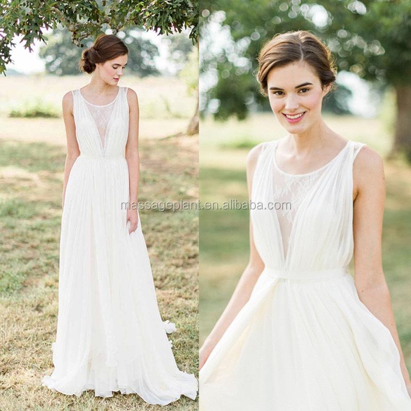 Spitze Brautkleid Simple White Wedding Dress Lange Vintage Hochzeit ...