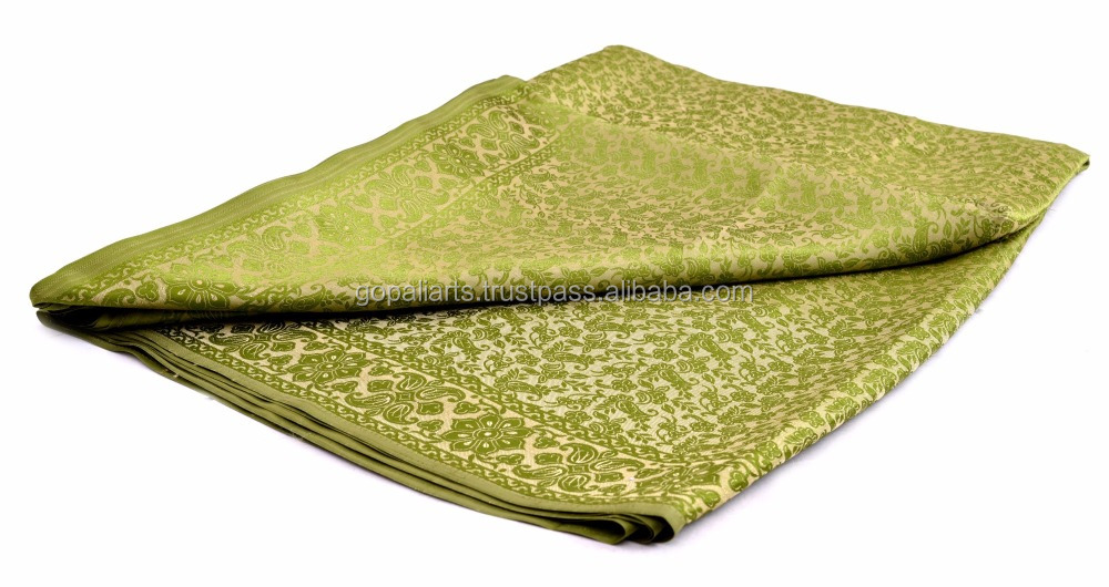 Green Designer Banarasi Handloom Satin Art Silk Sari with Light Gold Zari Work