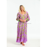 Maternity Wholesale Mexican Traditional Blooming Floral Embroidered Kaftan Dress Free Flowing Relaxed Fit Sexy Chic Maxi Dress