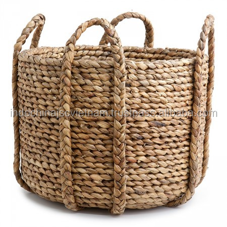 SEAGRASS BASKETS WITH HANDLES ROUND