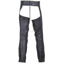 Black Men's Genuine Leather Motorcycle Chaps